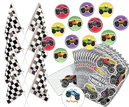 Monster Truck Party Favors for 12 - Truck Bounce Balls 1.25 Inch (12), Monster Truck Stickers (12 Sheets), Checkered Flags (24), and a Happy Birthday Sticker (Total 49 pieces)