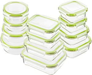 Bayco Glass Food Storage Containers with Lids, [24 Piece] Glass Meal Prep Containers, Airtight Glass Bento Boxes, BPA Free & Leak Proof (12 lids & 12 Containers) - Green
