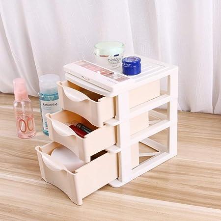 Drametree Mini caja de almacenaje de escritorio Tres cajoneras de plástico caja de almacenamiento de trompeta simples claves pequeños artículos cosméticos Caja de almacenamiento dispositivo de almacen: Amazon.es: Hogar