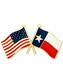 USA and TEXAS Crossed Friendship Flag Lapel Pin **MADE IN USA** AMERICAN
