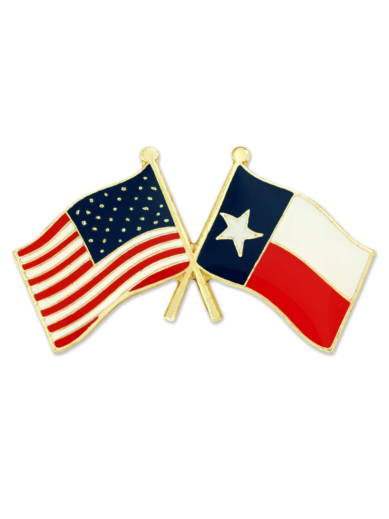 PinMart Texas and USA Crossed Friendship Flag Enamel Lapel Pin