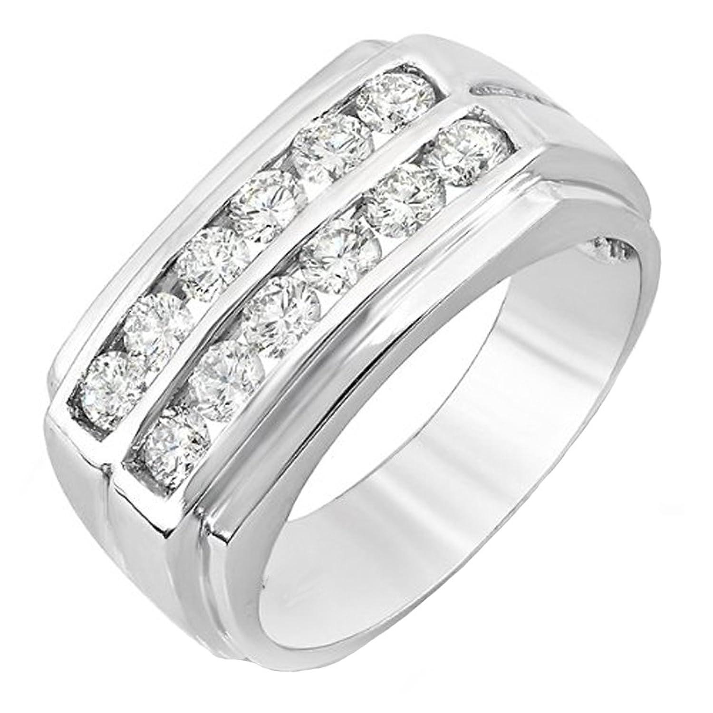 1.20 Carat (ctw) 14K White Gold Round Diamond Wedding Anniversary Band Ring 1 1/4 CT