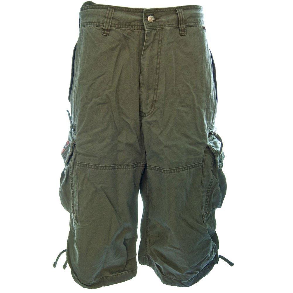 Molecule Men's Knee Hugger Cargo Shorts - 100% Cotton Longer Durable Cargos | USA 31''/S (Tag S) Field Green