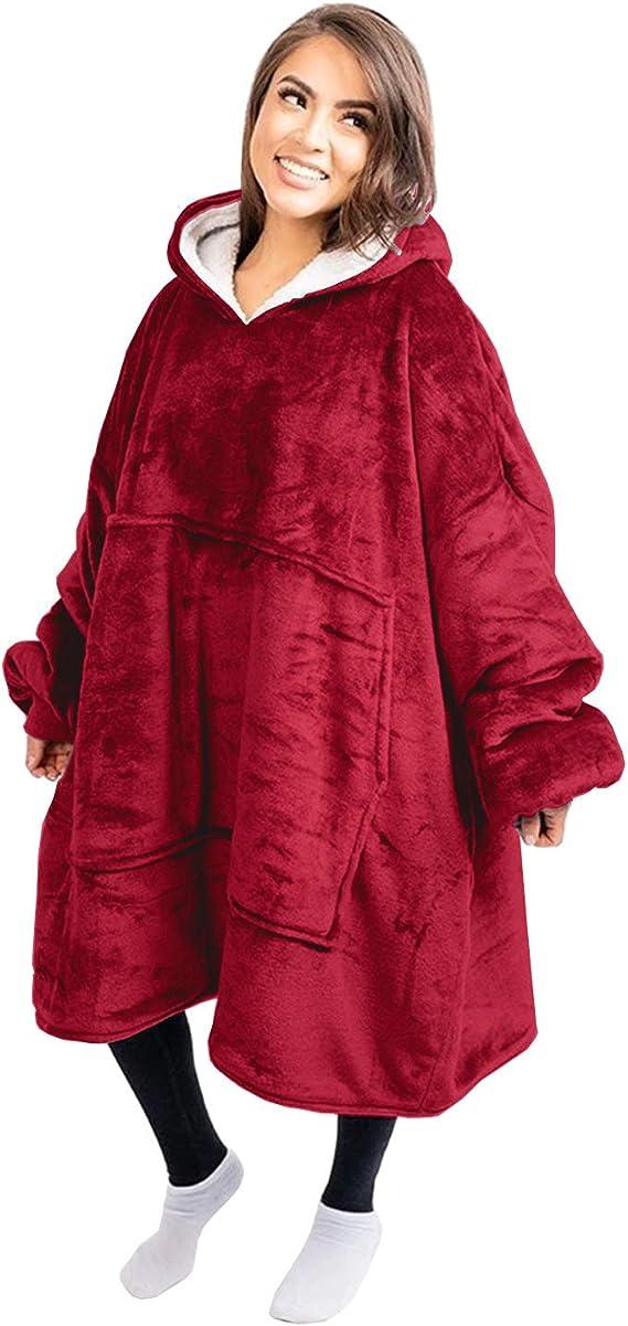 Hombres Adultos Ni/ños Ni/ñas Voqeen Hoodie Sudadera con Capucha de Sherpa de Gran Tama/ño Manta de Sudadera Gigante de Lujo S/úper Suave y C/álida Bolsillo Grande Talla /única para Mujeres