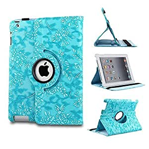 iCHOOSE iPad Mini 1,2,3 PU Leather 360 Degree Rotating Case / Flower Floral Designer Stand Cover with Free Screen Protector & Cleaning Cloth & Stylus Pen / Cases, Covers & Accessories for Apple iPad Mini - Style 1 Blue by iChoose Limited