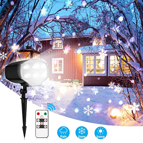 Christmas Projector Lights Outdoor White Snowflake LED Snowfall Lights Waterproof Rotating Snow Landscape Projector Lamp with Remote Control for Xmas Halloween Party Wedding and Garden Indoor Decor