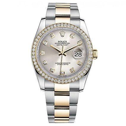 1264f00acb8 Amazon.com: Rolex Datejust 36 Steel Yellow Gold Watch Diamond Bezel Silver  Diamond Dial 116243: Everything Else