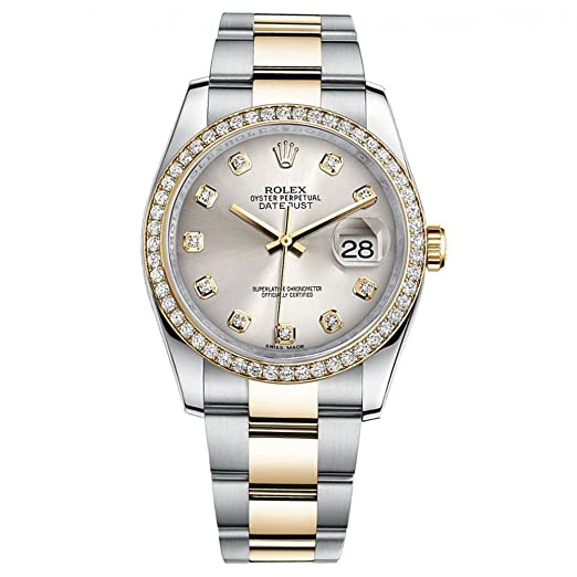 Rolex Datejust 36 Reloj de oro amarillo de acero diamante bisel plata diamante Dial 116243: Rolex: Amazon.es: Relojes