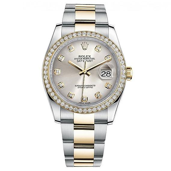 Rolex Datejust 36 Reloj de oro amarillo de acero diamante bisel plata diamante Dial 116243