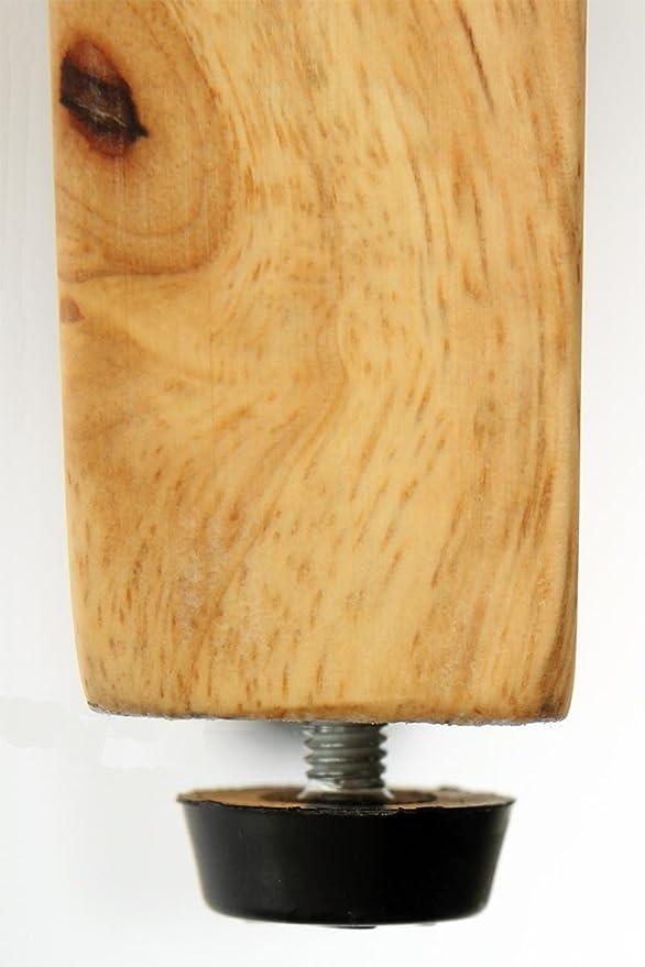 2x Barhocker Holz schwarz Kunstleder verstellbare Bodengleiter gepolstert