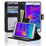 Navor Protective Flip Wallet Case for Samsung Galaxy Note 4 - (Black)