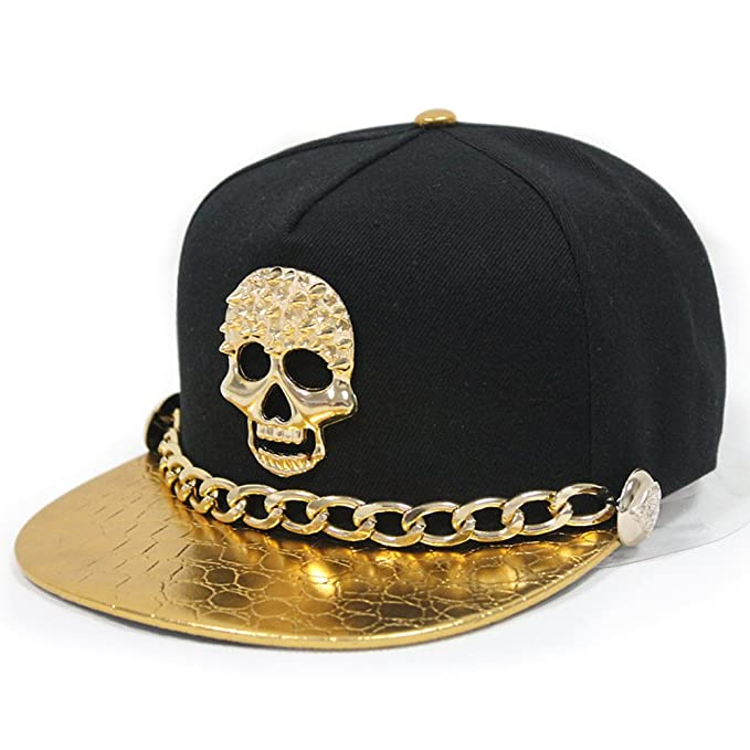 Adjustable Hip-hop Hat Metal Skull Studded Snapback with Chain Black 018   Amazon.ca  Jewelry f603de3fd0a