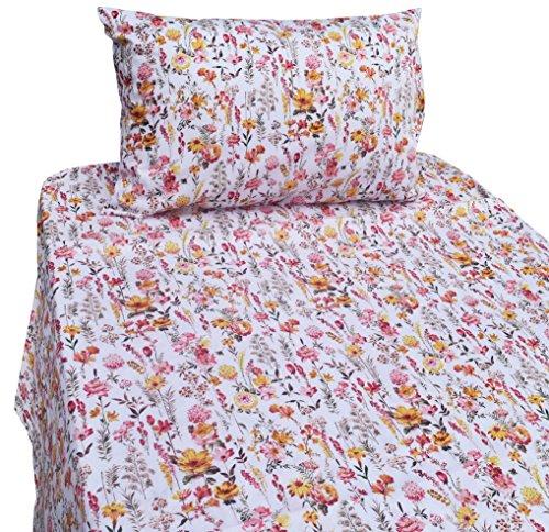 J-pinno Cute Yellow Garden Floral Twin Sheet Set for Kids Girl Children,100% Cotton, Flat Sheet + Fitted Sheet + Pillowcase Bedding Set (flower1) Floral Flat Sheet