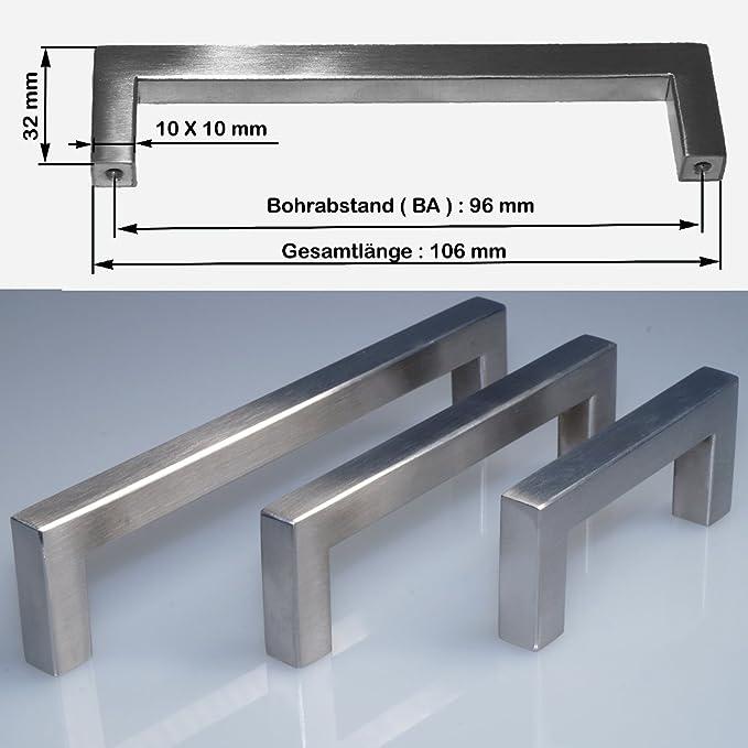 Edelstahl Griff mit Bohrlochabstand 96 mm Toolerando M/öbelgriff Stangengriff