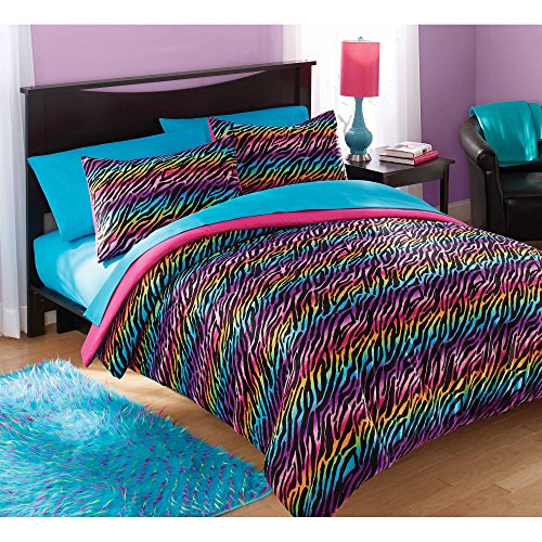 2 Piece Multi Color Girls Rainbow Zebra Stripes Comforter Set Twin, Pink Blue Purple Exotic Animal Print Themed Zoo Themed Bedding, Reversible Hot Pink Solid Color Kids Bedding, Polyester
