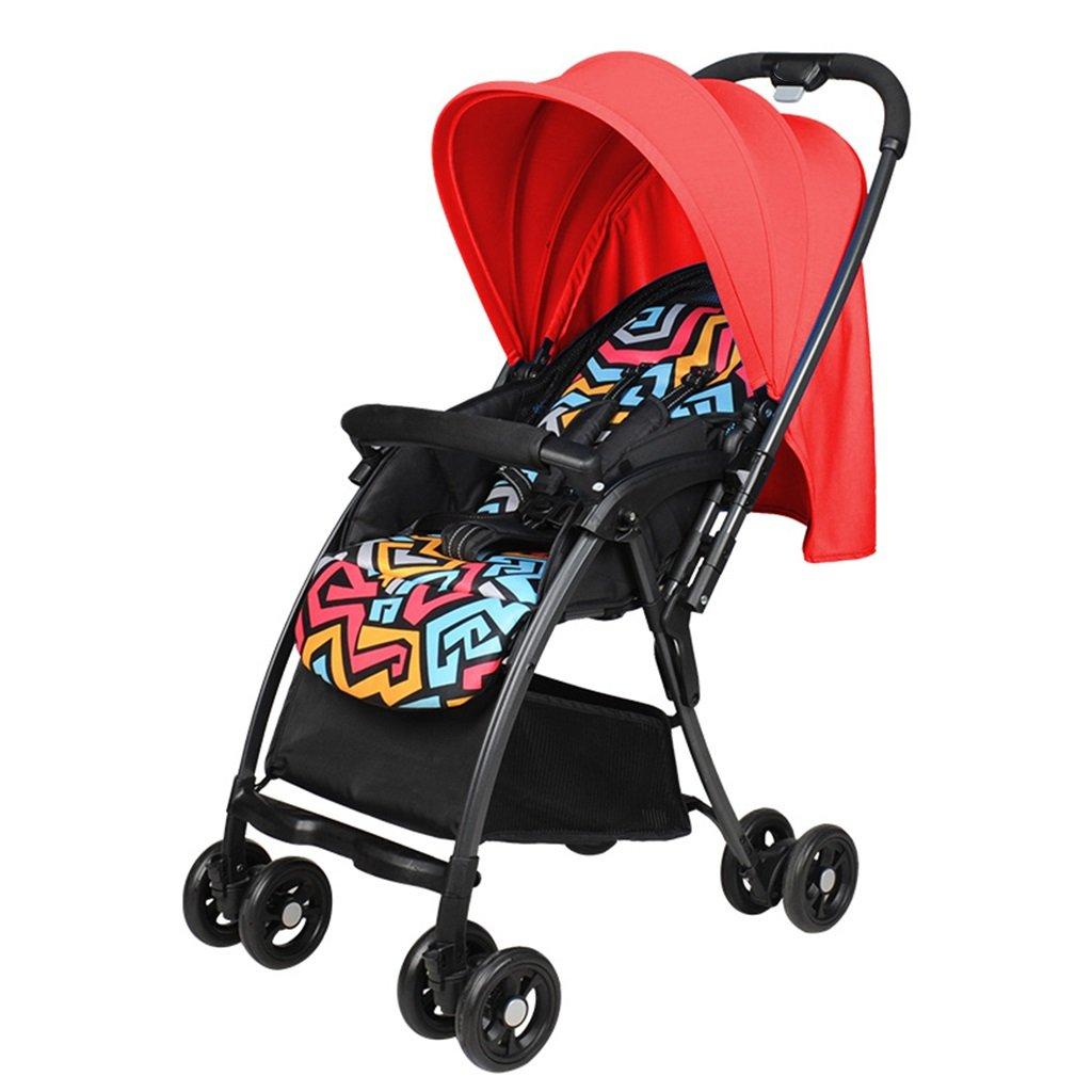 JIANXIN 赤ちゃんのベビーカーが座って、軽量折りたたみリクライニング夏の通気性のベビーカー多機能ベビーカーカーカート (色 : Red)   B07F7V9MM7