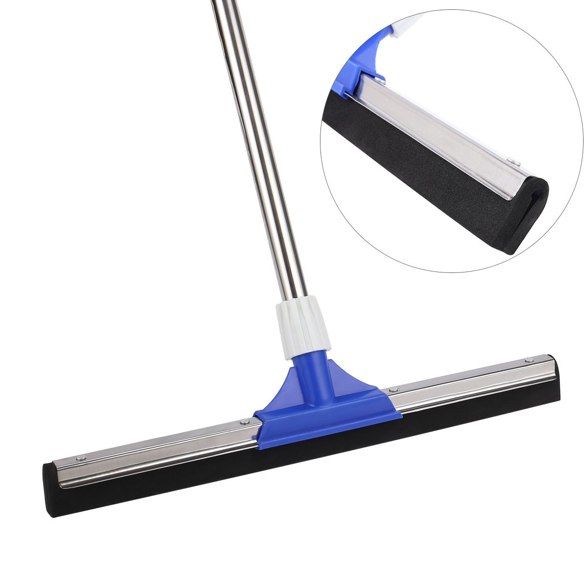 Heavy Duty Floor Squeegee, YCUTE 17.7'' Dual EVA Foam Moss, 50.6'' Long Handle Perfect for Washing and Drying Tile Glass Marble and Wood Surfaces