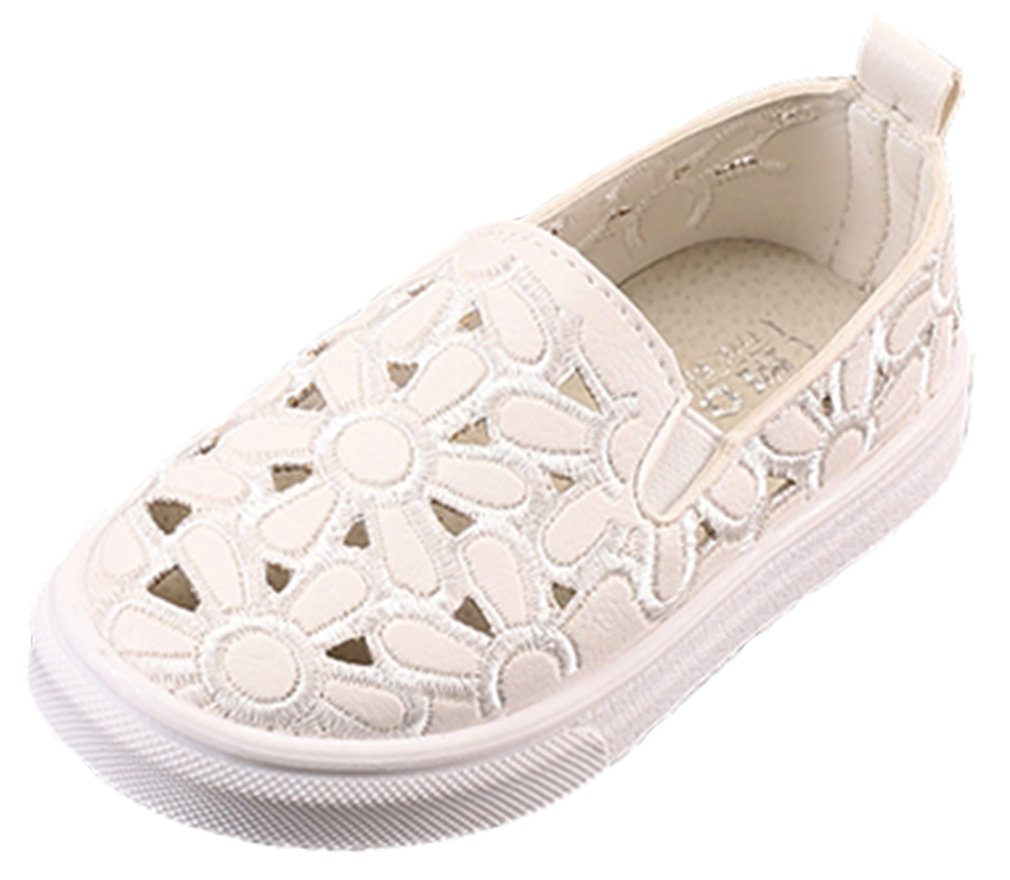 VECJUNIA Girl's Flat Shoes PU Cut Out Embroidered Slip-On Casual School Shoes (White, 7 M US Toddler)