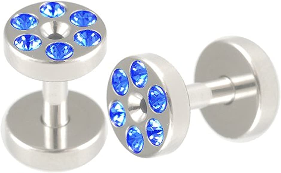 """Pair PVD Steel Screw On Double Flared CZ Crystal Ear Plugs Flesh Tunnel 6G-1/"""" US"""