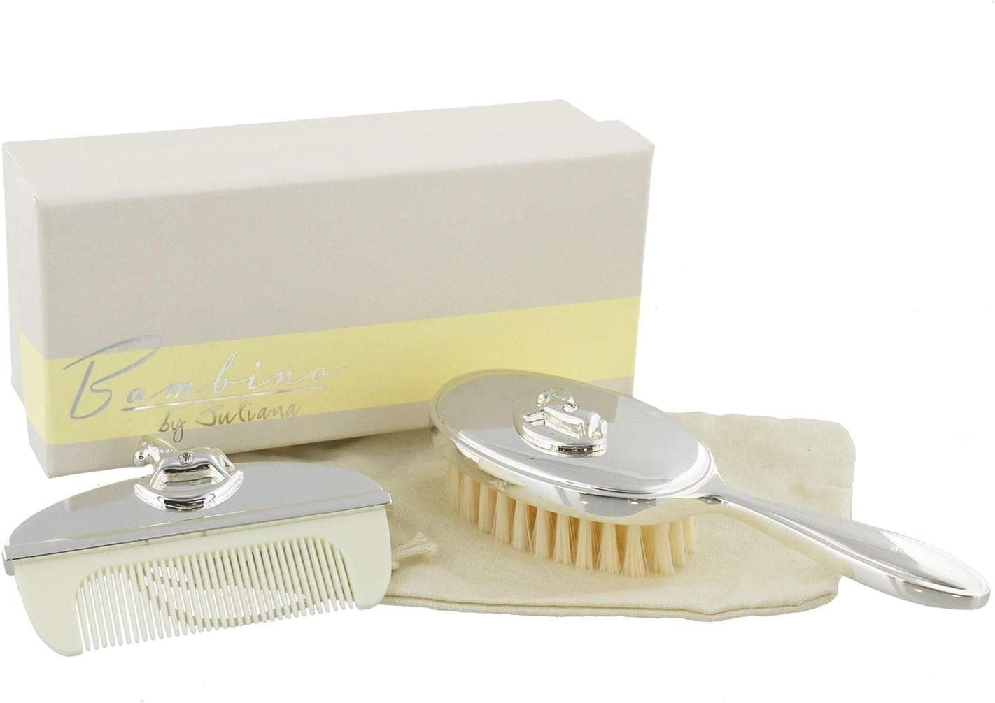 Delivered in a Box with Silver Winnie The Pooh Decoration Set of Brush and Comb Disney Baby Ideal Gift for Babies and Toddlers Essential Baby Accessory