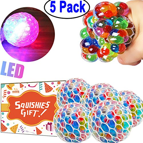 5 Pack Stress Mesh Ball LED Light Up Squeeze Grape Stress Relief Fidget Toy for Adults Kids Anxiety Squeezing Colourful 2.5