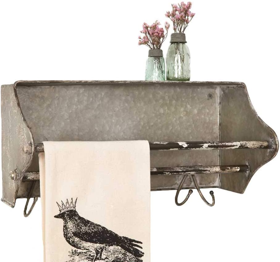 Colonial Tin Works Weathered Galvanized Metal Toolbox Wall Rack Towel Bar w/Hooks, grey