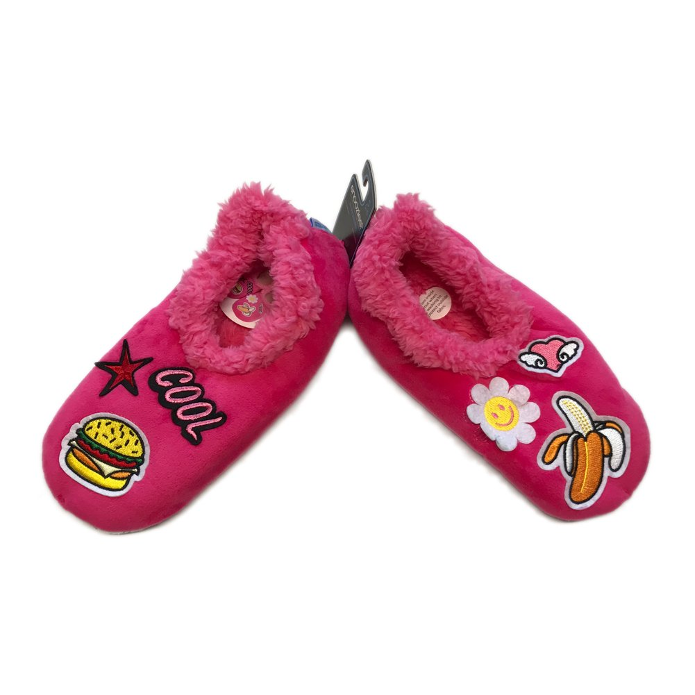 Hot Pink Snoozies Groovy Patches Foot Coverings Large
