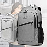 E-Zoned College School Backpack Multi-Compartment Travel Laptop Backpack,Business Anti Theft Slim Durable Backpack with USB Charging Port Fits Under 17.3' Laptop & Notebook