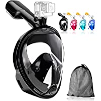 JHuuu 180°Full Face Snorkel Mask, Free Breathing Design with Detachable Camera Mount Anti-Fogging Anti-Leak with…
