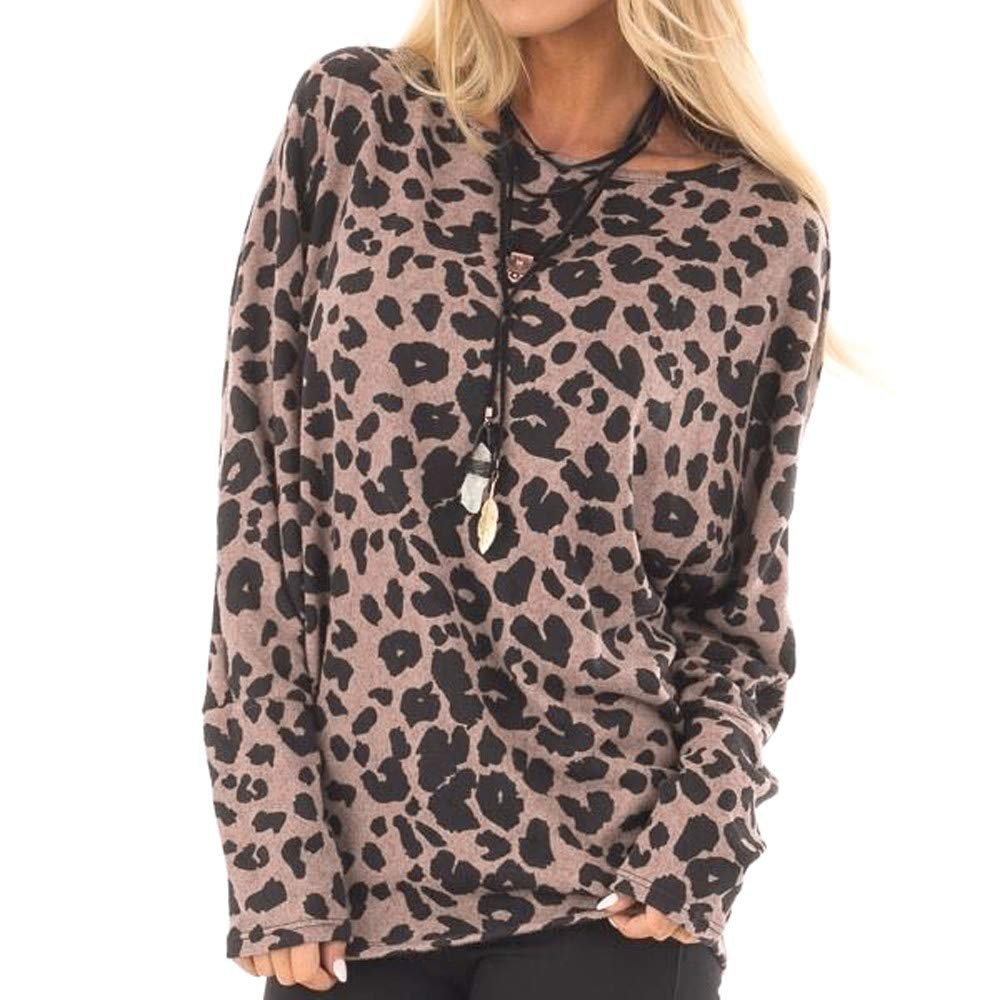 Damark Women's Top, Women Casual Long Sleeve Leopard Print Pullover Loose Tunic Sweatshirt Tops Blouses T-Shirts Damark Women's Top