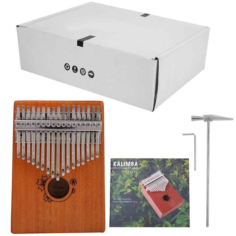 Portable 17 Keys Mahogany Kalimba Thumb Finger Piano Musical Instrument Set with Tune Hammer and Wrench by Bnineteenteam