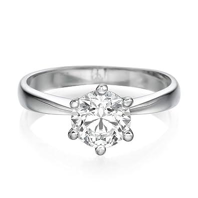 6407916241 Solitaire Swarovski Engagement Ring 2.00CT Round Cut Main Stone D/VVS1 14ct  White Gold: Amazon.co.uk: Jewellery