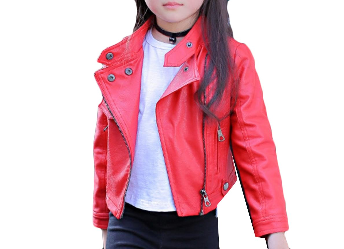 SportsX Kids Leather Zip Lapel Short Pure Color Luxury Girls PU Outwear Red 150cm