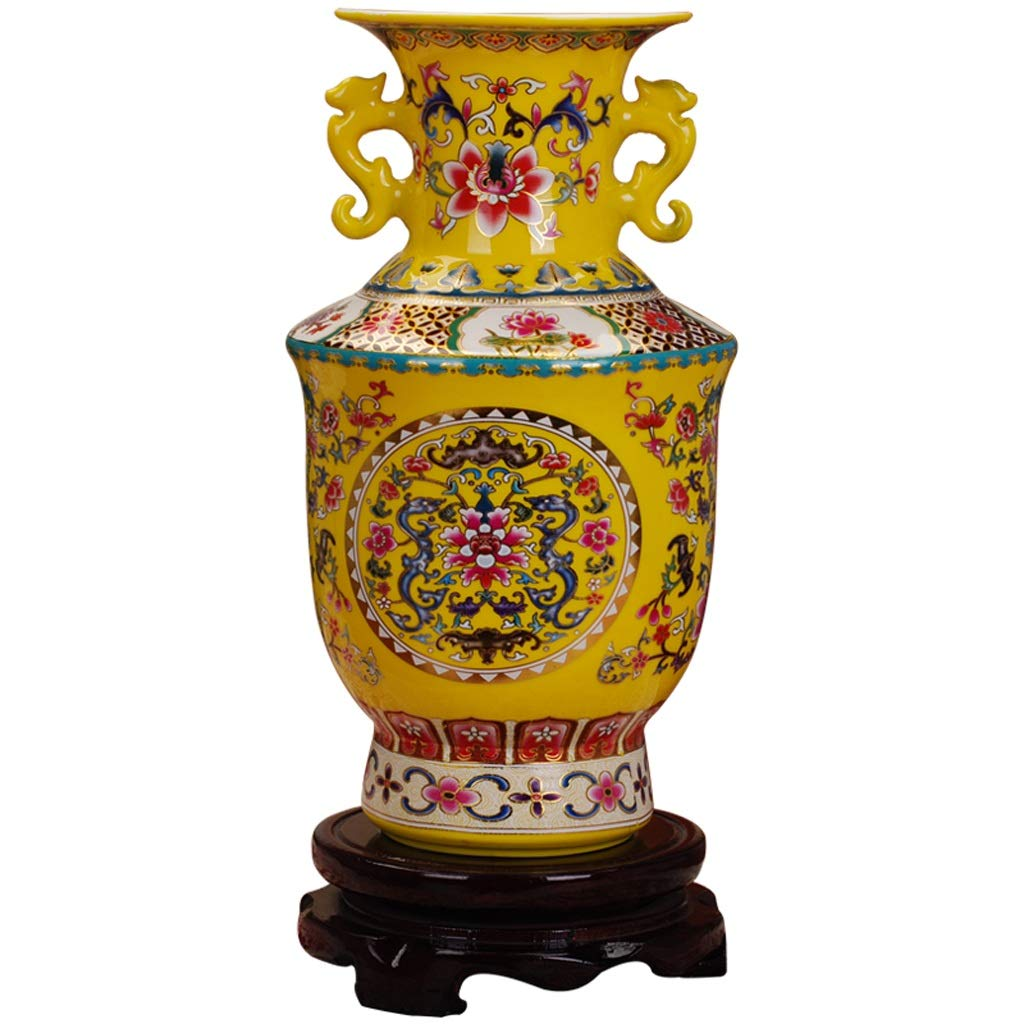 MAHONGQING 花瓶セラミックスアンフォラボトルエナメルクラシック花瓶家の装飾リビングルームの工芸品装飾品(ベース付き) (Edition : B) B07RY1RHWR  B