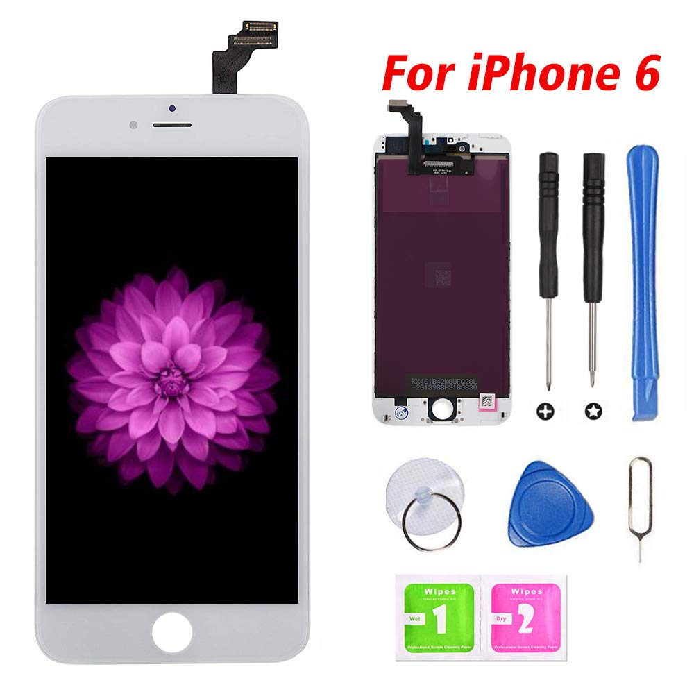 FFtopu Compatible for iPhone 6 Screen Replacement White (4.7''), LCD Display & Touch Screen Digitizer Frame Assembly with Repair Tools and Professional Replacement Manual Includ by FFtopu