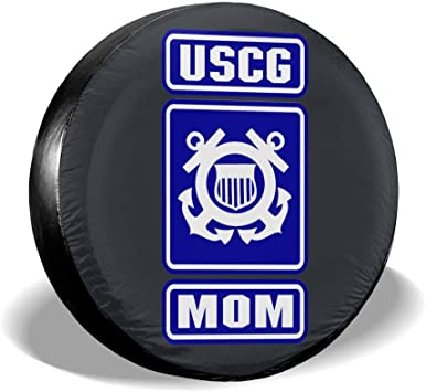 SUV and Various Vehicles Blirh Distressed USCG US Coast Guard Flag Veteran Universal Spare Jeep Wheel Tire Cover Fit for Trailer 14 15 16 17 RV
