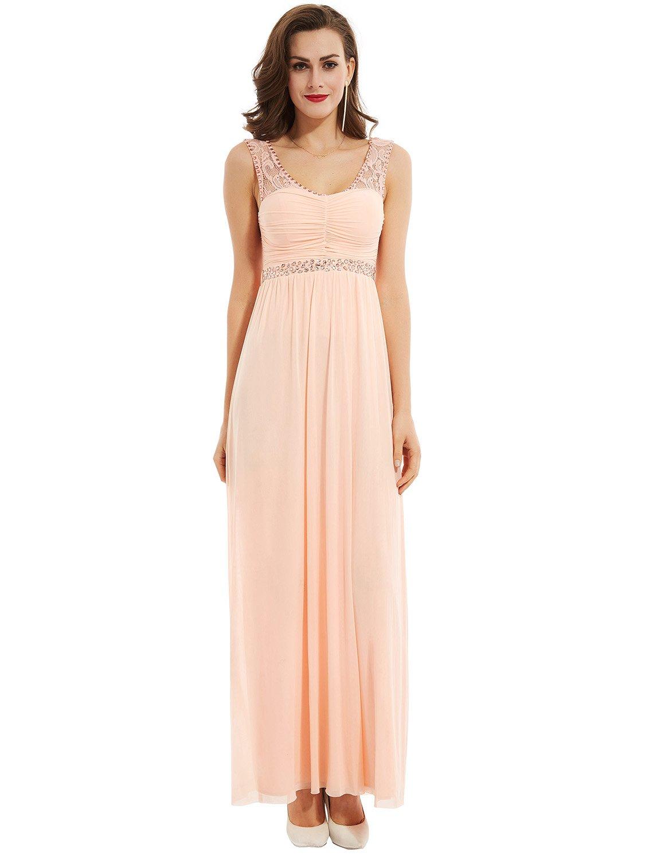 Selighting Vestido Elegante de Boda Fiesta Cóctel para Mujer Dama de Honor Vestido Largo (32, Pink): Amazon.es: Deportes y aire libre
