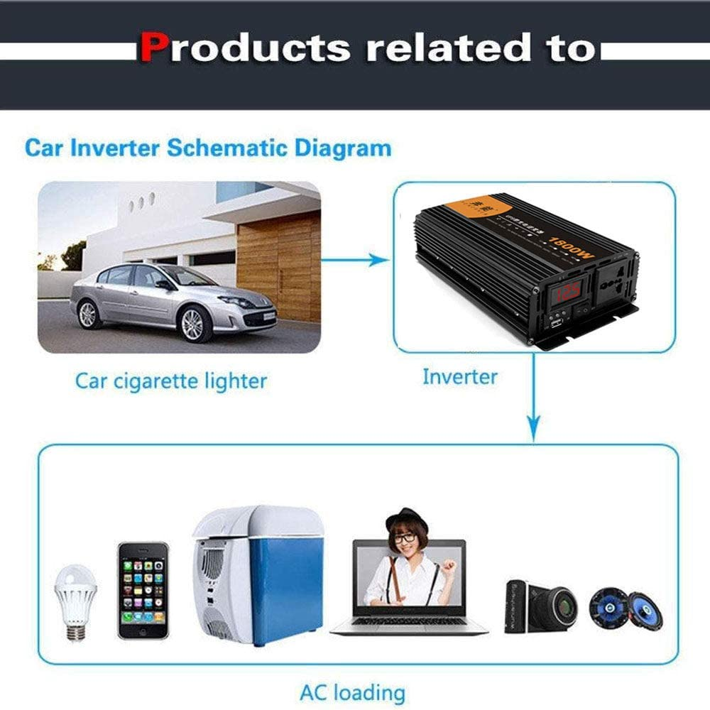 Potenza Continua 900 W GBHJJ Inverter 12V 220V Onda Pura Inverter Auto con Doppia Porta USB e Presa Ca,1800W-12VTo220V Inverter Onda Sinusoidale Pura