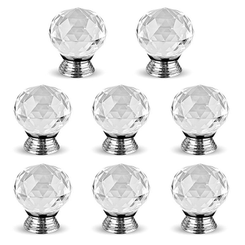 16PCS 30mm Clear Crystal Glass Door Knobs Cupboard Cabinet Handle Drawer Pull Handle with Screw New_Soul