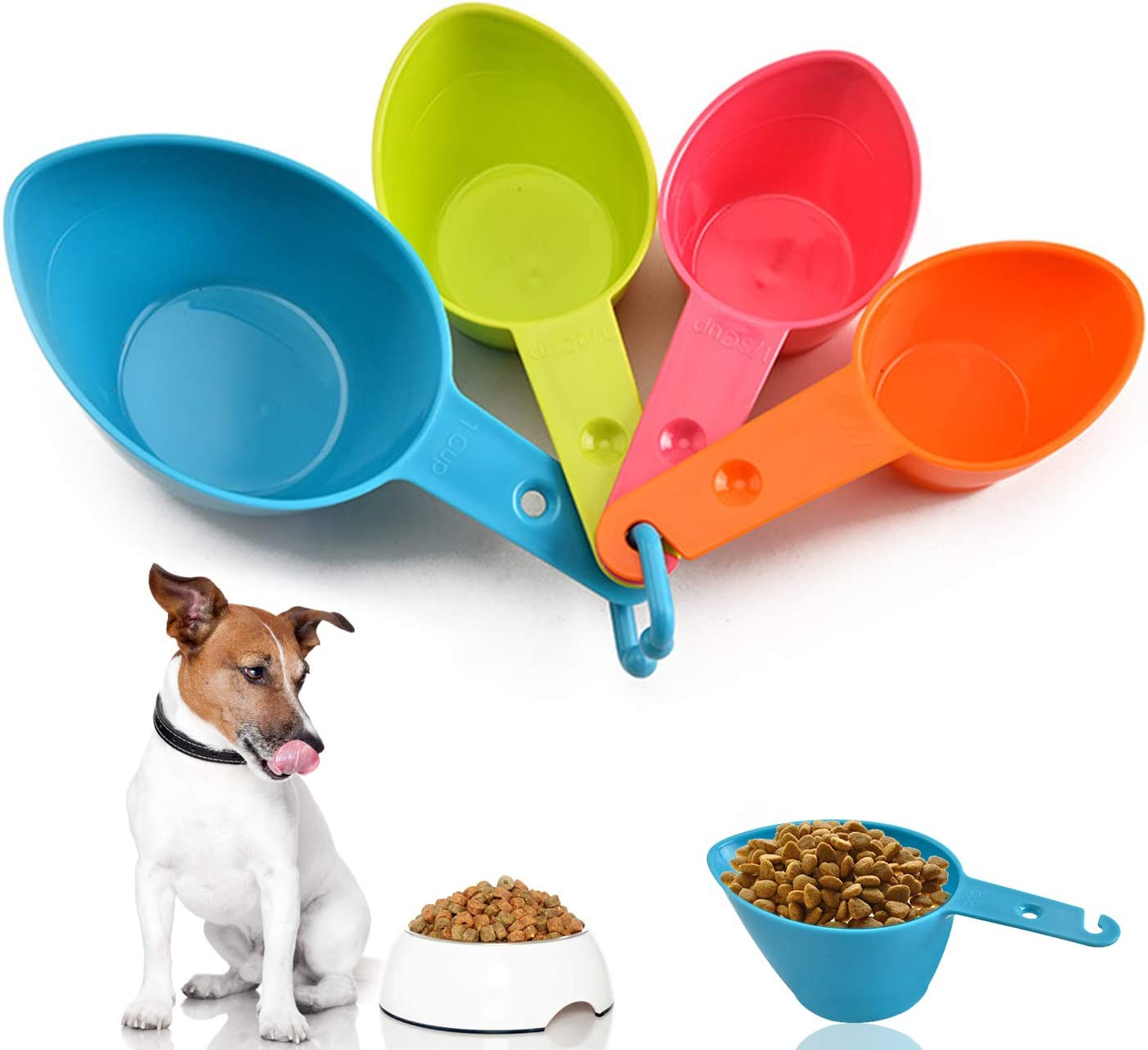 Lainrrew Pet Food Scoop, Plastic Measuring Cup Set Utility Kitchen Scoops for Dog Cat Food