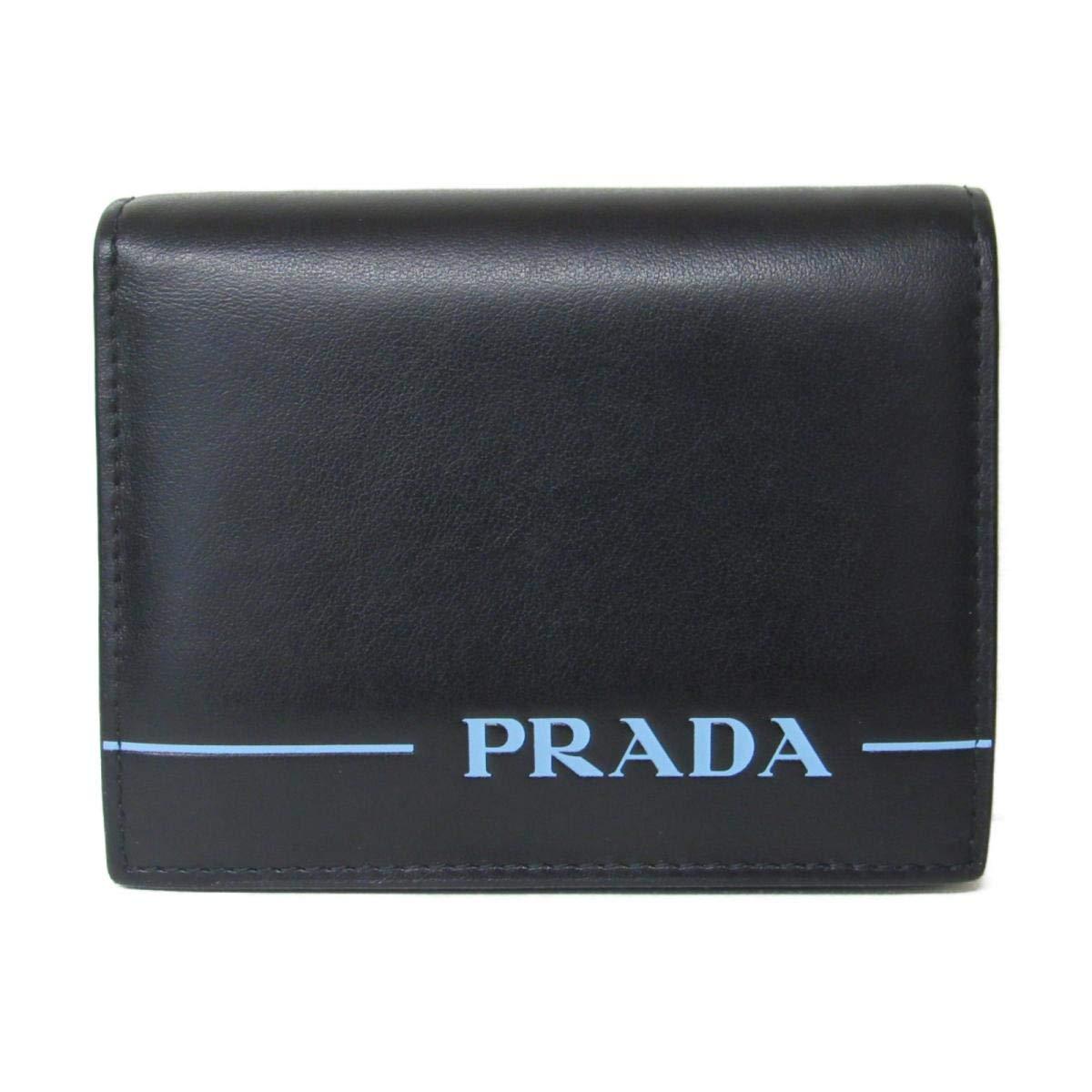 [プラダ] PRADA 二つ折財布 財布 ブラック×ブルー レザー 1MV204 [中古]   B07MJJDSST