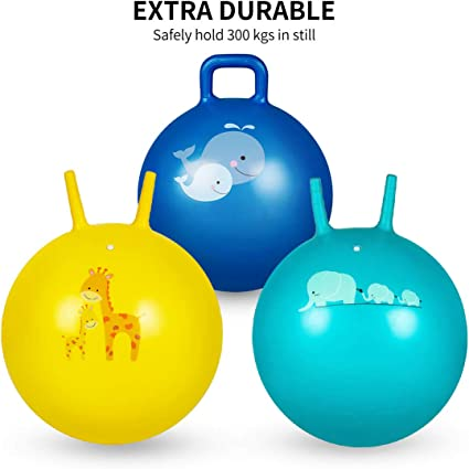 Amazon Com Trideer Kids Hopper Ball Multi Function Jump Ball Bouncy Ball With Handles Balance Ball And Ball Chair For Children Age 3 12 Air Pump Included Royal Blue S Toys Games