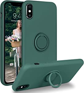DUEDUE iPhone Xs Case,iPhone X Case,Liquid Silicone|Ring Kickstand|Car Mount Function|Shock Absorption Full Body Protective Case with Soft Gel Rubber Slim Cover for iPhone X/iPhone Xs, Pine Green