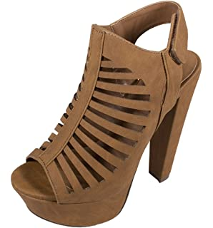 Amazon.com | Breckelles Women's BRINA Peep Toe High Heel T-Strap ...