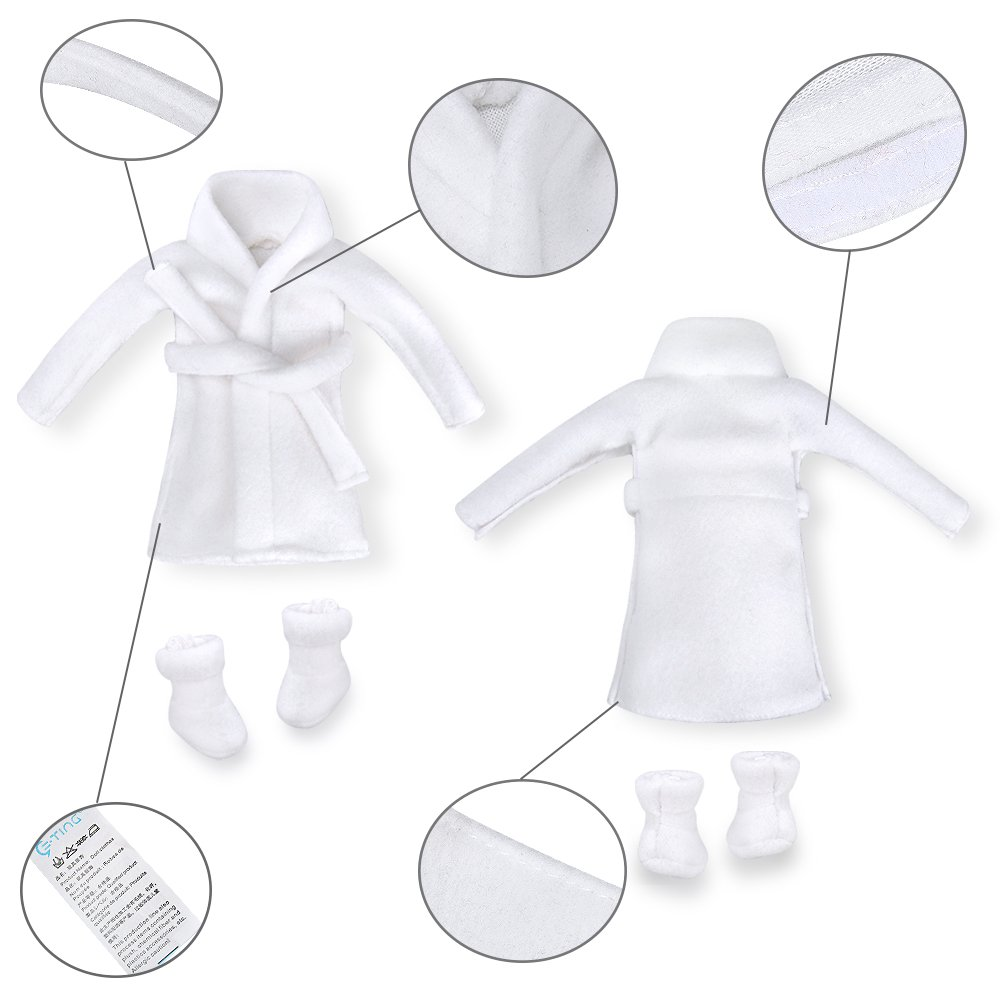 E-TING Santa Couture Clothing for elf Fluffy Vest+ Plaid Skirt Doll is not Included