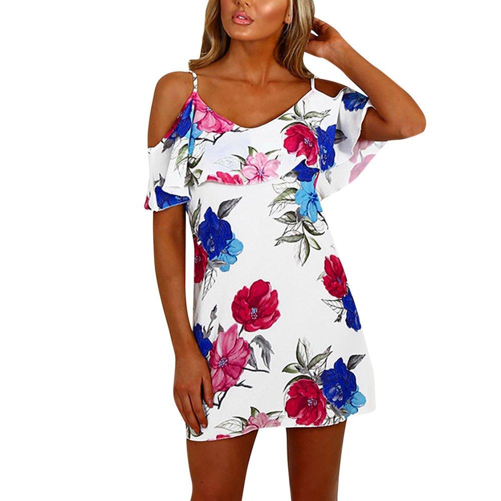 Yuwegr Frauen Kleider Casual Floral Sun Kleid Damen Schulterfrei Sommer Strandkleid Minikleid 3 Farbe S-XL