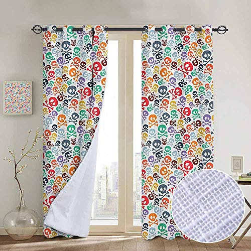 NUOMANAN Blackout Lined Curtains Skull,Halloween Themed Colorful Skulls and Crossbones Funny Cartoon Style Pattern Print, Multicolor,Thermal Insulated,Grommet Curtain Panel 1 Pair 120