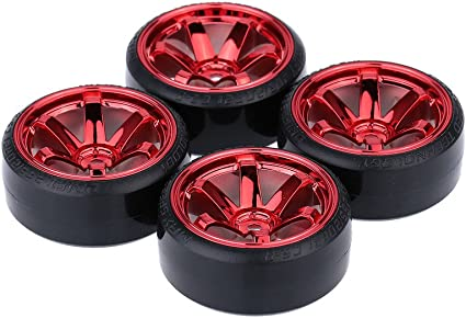 ZIJIA 4pcs Y Type Wheel Rims Black Smooth Tires Tyre for RC 1 10 Drift Flat Car