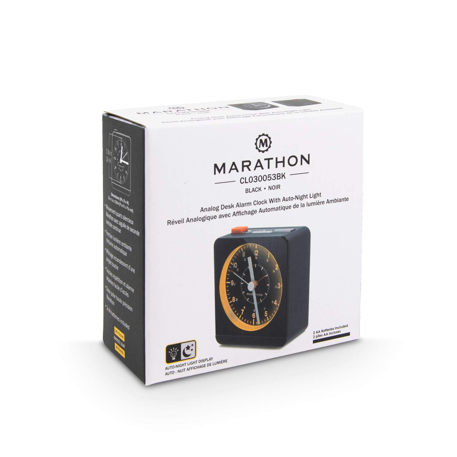 Marathon CL030053BK Classic Silent Sweep Alarm Clock with Auto Night Light Batteries Included