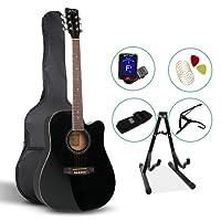 41 Inch Acoustic Guitar Wooden Folk Classical D Shape Full Size Cutaway Black Strings Carry Bag Tuner Capo Shoulder Strap Picks ALPHA